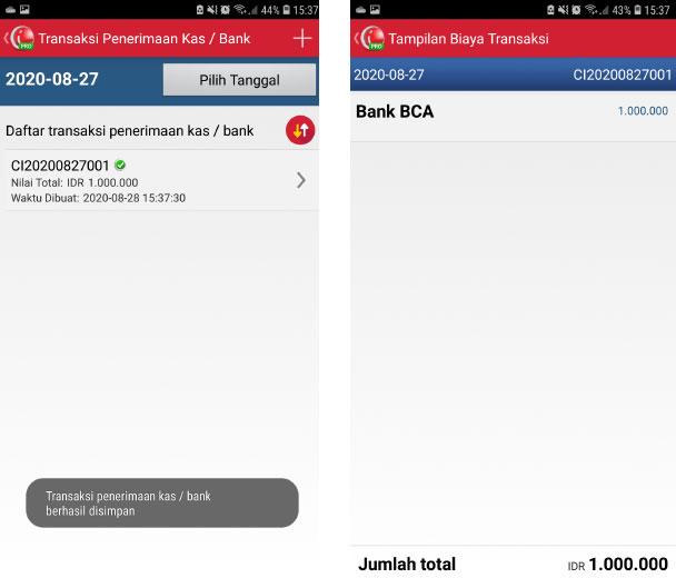 Transaksi peneriman kas/bank sudah dibuat pada aplikasi pos mobile android iREAP Pro
