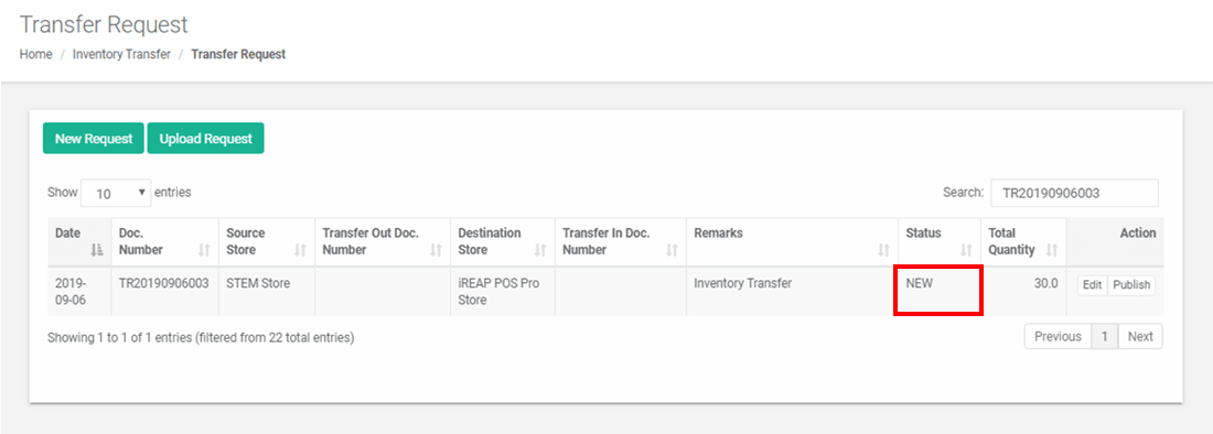 Successfully Created Stock Transfer Request Inventory in iREAP POS PRO