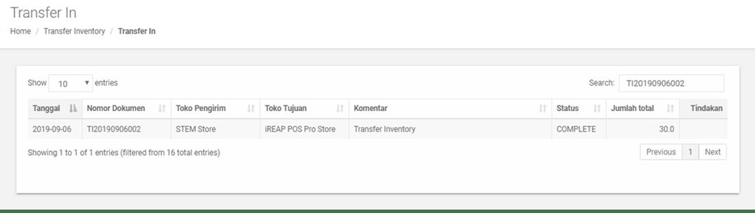 Pengecekan Transfer Barang Masuk yang telah berhasil dibuat di Web Admin iREAP POS PRO