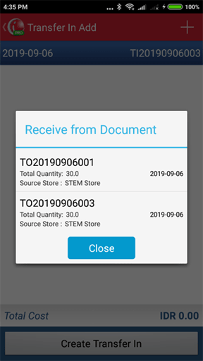 Choose Transfer Out Document on iREAP POS PRO