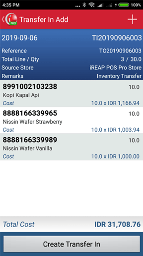 Confirm Transfer In on iREAP POS PRO