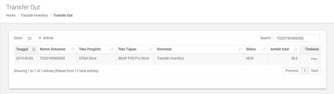 Pengechekan Transaksi Permintaan Transfer Barang Keluar yang telah berhasil melalui Web Admin iREAP POS PRO