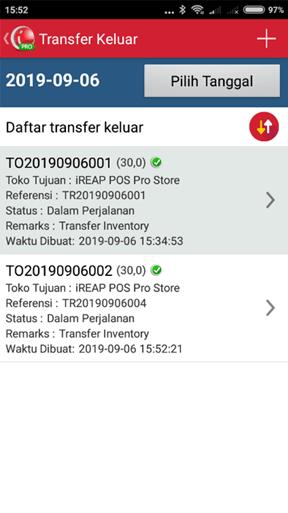 Transaksi Transfer Barang Keluar yang telah berhasil dibuat di iREAP POS PRO
