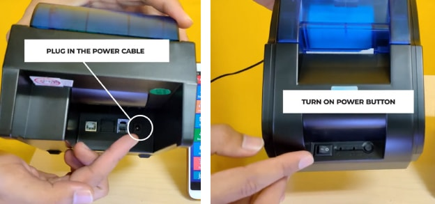 Turn on the Panda PRJ-58D bluetooth printer machine until the indicator light turns on