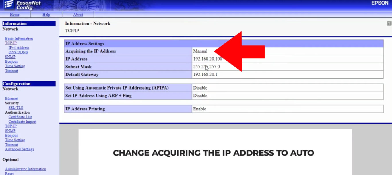 Change Acquiring the IP Address from Manual to Auto