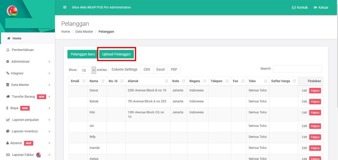 Upload Data Pelanggan Pada Aplikasi Kasir iREAP POS PRO Melalui Web Administrator