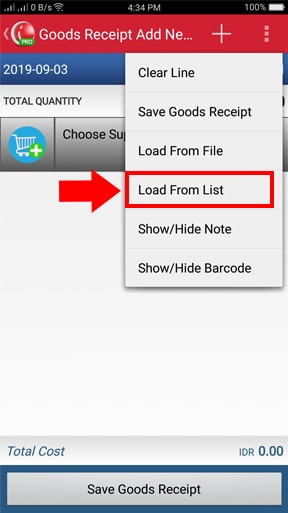 Load from list menu iREAP POS Pro