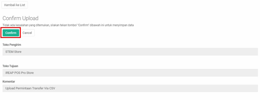 iREAP POS Pro Confirm Upload Permintaan Transfer Barang