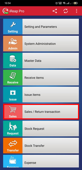 Choose Sales Transaction to Upload Transaction in Mobile Cashier Android iREAP POS PRO