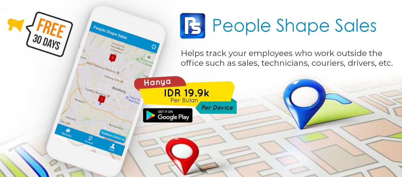 People Shape Sales Mobile Apps android - Helps track your employees who work outside the office such as sales, technicians, couriers, drivers, etc