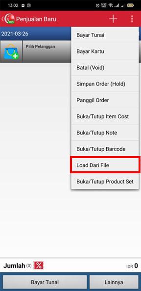 Pilih Load Dari File untuk upload transaksi penjualan di Aplikasi Kasir Toko iREAP POS PRO