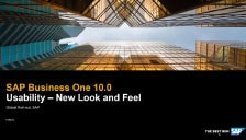SAP Business One 10 - Usability - New Look and Feel